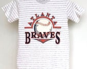 Vintage Atlanta Braves T Shirt Mens Extra Small Unisex Womens Boys Extra Large 90s MLB ATL Baseball Made In USA Striped Petite