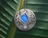 RESERVED - Lapis Lazuli and Shiva Shell wood backed disc pendant / lapis lazuli / six cm round / silver chain and bail friendly / khayanite