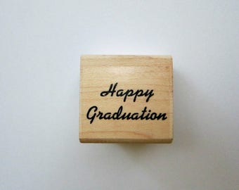 1pc HAPPY GRADUATION Wood Rubber Stamp, Pre-used