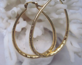 Large Soft  Etched Gold Plated Tear Drop Hoop Earrings