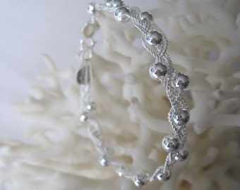 Unique Open Braid of Silver Beads and Textured Wire Clasping Bracelet Cuff
