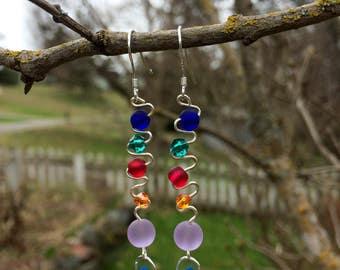 Sea Glass and Swarovski Earrings