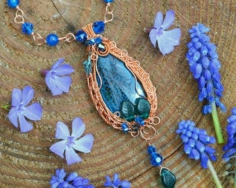 Elven wire wrapped pendant w Swarovski crystals, bluebell necklace, gothic blue fairy pendant, wire wrapped necklace, faerie forest pendant
