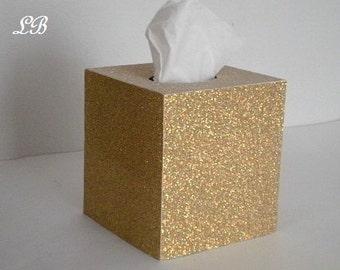 GOLD/ANTIQUE GOLD Glitter Tissue Box Cover-Super Sparkling Octagon/Prisma Glitter - Bathroom Accessories, Office, Wedding, Home Decor