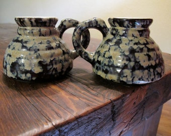 "MUG SET 2 vintage WESTWOOD Pottery ""The Transporter"" no-spill non-slip coffee RaRe version collectible"