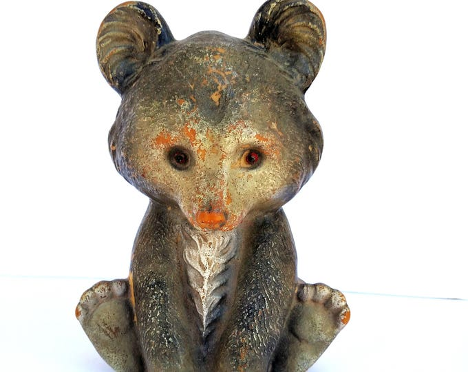 Vintage Plastic Baby Bear Coin Bank - Kitsch Cute and Shabby Chic