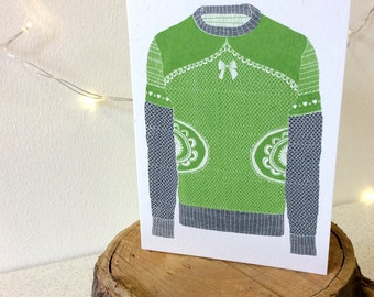 Winter Woolies - Olive & Grey - Greetings Card Handmade Screen Printed