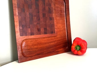 Mid Century Modern Teak Wood Cheese Board / Vintage Cheese Board / Philippines Hand Crafted Wood Serving Board