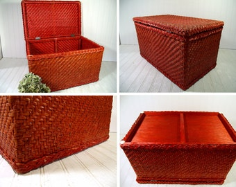 Vintage Wood & Wicker Basket Box Faded Red Paint Trunk with Lift Open Lid  Boho Hippie Crafters Decorator Chest Rustic Artisan Rattan Basket