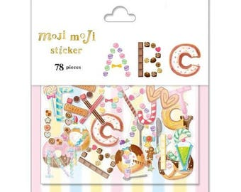 Sweet Dessert Alphabet Letter Flake Sticker - Moji Moji A-Z Transparent Stickers (78 pcs)