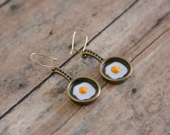 Egg in Pan Earrings Sunny Side Up Chef Funny Dangles - made with frying pan charms