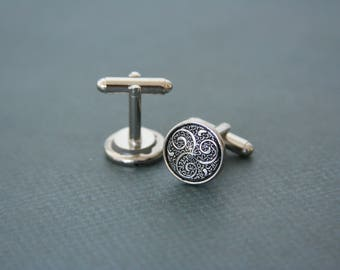 Triskele Cuff Links Celtic Symbol Triskelion Spiral - made with buttons