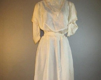 SALE***Vintage Victorian Silk Dress // Two Piece // Wedding Dress...very small