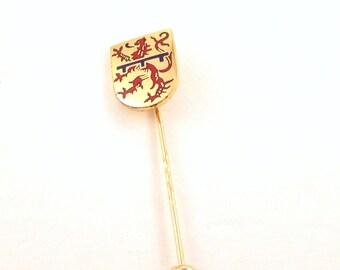 Enamel Lion Crest Stick Pin - B.H. Mayer Pforzheim