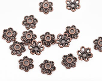 1000 Filigree Flower Bead Caps, 6mm, fits beads 6mm to 12mm, Copper FLOWER Metal Bead Caps, fin0688b