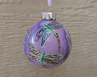 Hand painted Ornament, purple dragonfly ornament