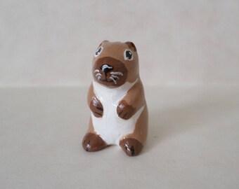 Miniature groundhog figurine hand made clay animal sculpture #124