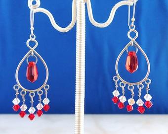 Red Infinity Chandelier Earrings, Swarovski Crystal Earrings, Siam Crystal Earrings, Red Earrings, Wire Wrapped Earrings,Als Jewelry Designs
