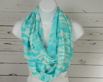 Beach Infinity Scarf in Turquoise Blue and White Tie Dye Chiffon Handmade Fashion for Women by Thimbledoodle