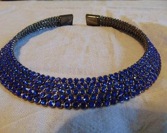 vintage unused fragments famous maker anthricite bermuda blue crystals choker necklace statement bold swarovski