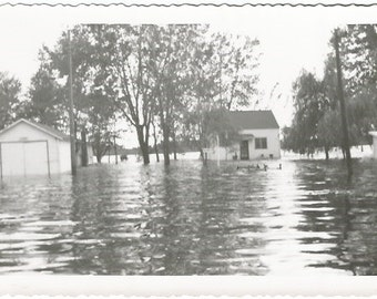 Flooded House and Garage Streets and Homes Real Photograph Vintage Photograph/Postcard Size Black and White