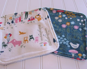SWEET NATURALS/Organic Line/Washcloths/Set of Two/Everyday Party/Organic Cotton Front/Organic Cotton Terry Back