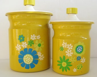 Vintage Kromex Yellow Canisters / Mod Kitchen Canisters