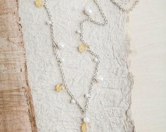 Yellow Citrine Necklace, Silver, Citrine Necklace, Sea Glass Necklace, Yellow Necklace, Pearl, Citrine, Long Necklace, Beach, Bohemian, Boho