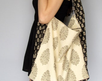 Kind-Hearted Bag ~ Indian Hand Block Cotton Floral Prints Lined Organic Cotton Sateen Large Boho Ethnic Hippie Shoulder Bag~Charity Donation