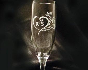 Custom Personalized Champagne Flutes - Wedding Toasting Flutes - Sweetheart Toasting Flutes