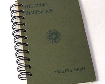 1896 SHAKESPEARE TWELFTH NIGHT Handmade Journal Vintage Upcycled