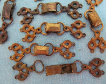 3 Vintage Distressed Fold Over Clasp