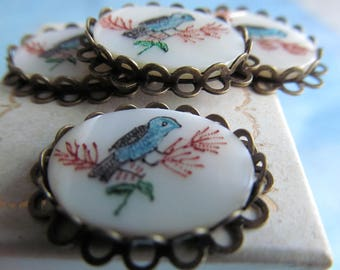 Antique Mother Of Pearl Bird On Branches Set Cabochon