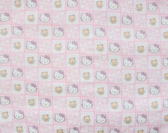 Hello Kitty Flannel Snuggle Fabric from 2003 . Out of Print, Rare . Square Faces . Authentic Sanrio Kawaii . Children's
