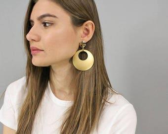 Oversized Gold Hoop Earrings / Geometric Dangle Earrings / Double Hoop Earrings / Statement Earrings / Costume Jewelry
