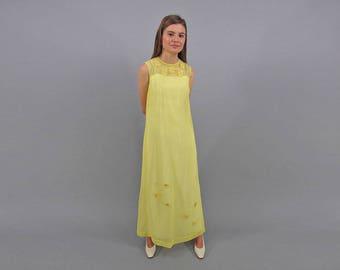 Caftan Dress / Vintage 60s Dress / Hippie Dress / Boho Maxi Dress / Daisy Dress Δ size: XS/S