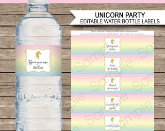 Unicorn Water Bottle Labels or Wrappers - Unicorn Theme Birthday Party Printables - Party Decorations - INSTANT DOWNLOAD with EDITABLE text