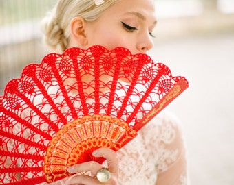 Lace Hand Fan-Red Spanish Hand Fan- Hand Held Fan- Bouquet Alternative- Gift for Her- Gift under 50- Folding Hand Fan- Spanish Wedding Fan