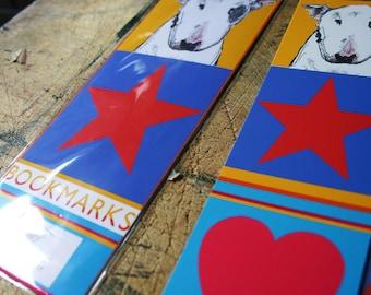 Pop Art Bull Terrier Bookmarks - Pack of Four Star Struck dogs