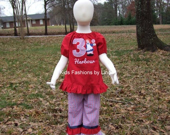 Red Peasant Short Sleeve Shirt with Number/Raggedy Ann with Plaid Double Ruffle Pants