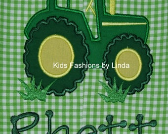 Green Gingham  Tractor Longall