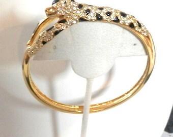 Vintage Juguar Enamel and Rhinestone Bangle Bracelet