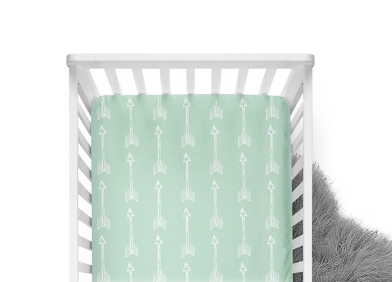 Fitted Crib Sheet Shooting Arrows on Mint- ModFox Exclusive- Mint Crib Sheet- Arrow Crib Sheet- Mint Baby Baby Bedding- Arrow Crib Bedding