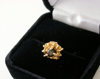 14k Gold Nugget Tie Tack Tie Tac Gold Textured 14Kt Gold Tie Tack Tiger Eye stone 585 Yellow Gold Nugget Mens  FREE US ship