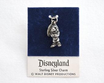 Vintage 1970's Grumpy the Dwarf Sterling Silver Charm - Snow White & The Seven Dwarfs - Disneyland Travel Souvenir - New on Card