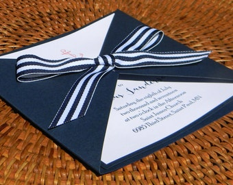 Square Wrap Nautical Wedding Invitation, Wedding Invitation, Nautical Invitation, Anchor, Navy, White, Red, navy and white stripe