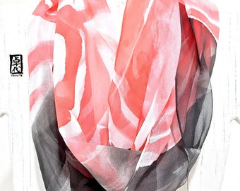 Summer Scarf, Loop Silk Scarf, Handpainted Scarf, Silk Scarf Painting, Black and Red Zen Wave, Tribal Women Scarf, Made to order
