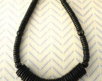Coconut Shell Bead Necklace - Black Coconut Shell & Horn Bead Necklace