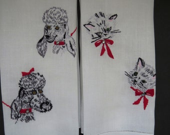 Vintage Poodle Dogs and Kitty Cats Hand Towels - Pair Hand Embroidered Linen Cut Work Hems - Bathroom Towels - Vintage Linens - Collectible