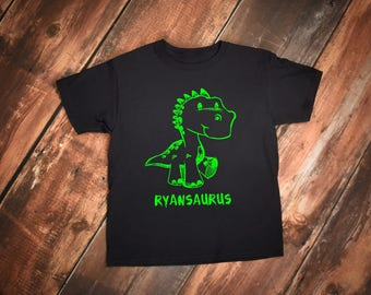 Dinosaur Youth Shirt or Bodysuit With Personalized Name with saurus at the end.